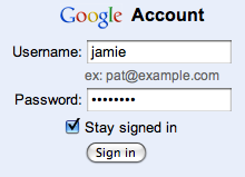 Google Account sign in used across all Google services.