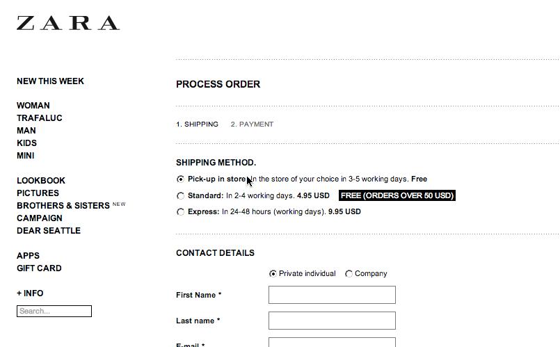 Order resume online zara