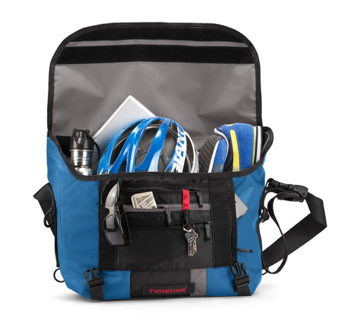 When dealing with storage products, showing actual objects stored in it can help give a visual representation of the volume the storage product can hold. Image credit: TimBuk2