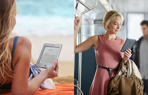 The Kindle is light and portable which Amazon communicate by showing the product in many different environments. Image credit: Amazon