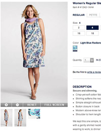 Showing this dress in-use tells a completely different story than simply showing it on a hanger. Image credit: Lands' End